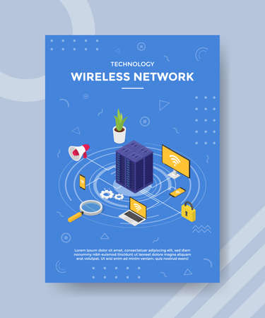 technology wireless network server connecting device computer smartphone laptop for template of banner and flyer for printing magazine cover and poster with flat style
