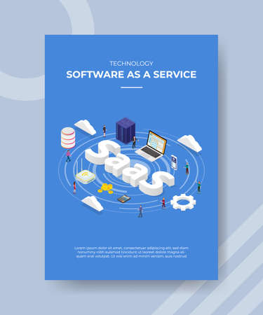 technology software as a service people standing laptop server router cloud SaaS text for template of banner flyer for printing magazine cover and poster 向量圖像