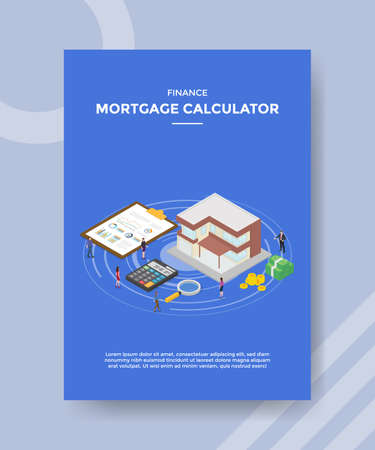 finance mortgage calculator people standing around house building for template flyer and print banner cover book books modern flat style vector illustration