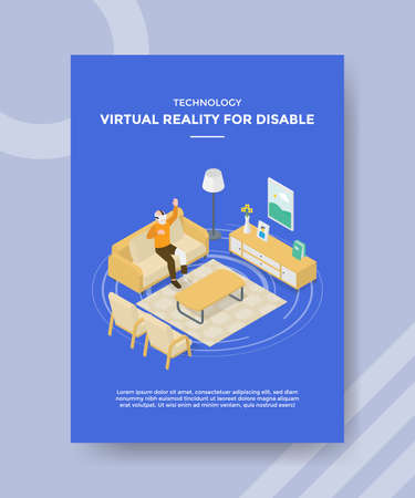 technology virtual reality for disable men prosthetic leg use vr glass headset in living room for template flyer and print banner cover isometric