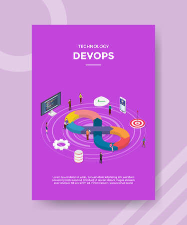 technology devops people standing around work sequence icon computer software gear setting for template flyer and print banner cover isometric 3d flat style vector