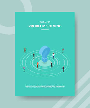 business problem solving people around question mark for template flyer and print banner cover isometric 3d flat style vector design illustration