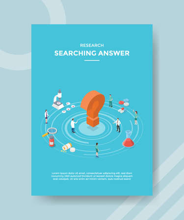 research searching answer people scientist around question mark drug chemistry glass magnifier microscope for template flyer and print banner cover isometric 3d flat style vector