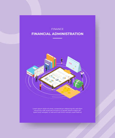 financial administration concept for template banner and flyer for printing with isometric style vector illustration