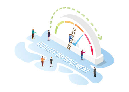quality improvement increase concept with modern isometric or 3d style vector illustration