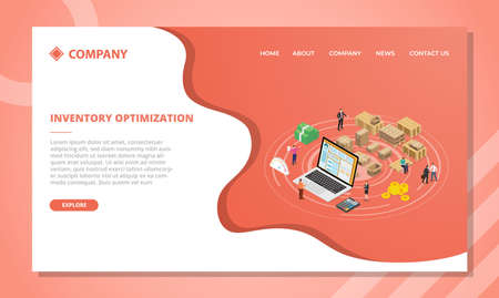 inventory optimization concept for website template or landing homepage design with isometric style vector illustration