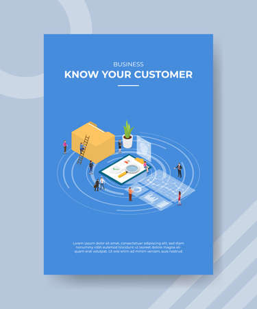 kyc know your customer concept for template banner and flyer for printing with isometric style vector illustration