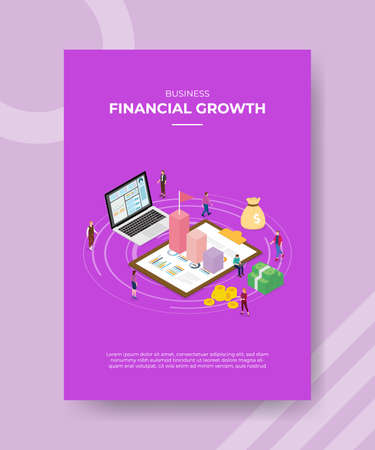 financial growth concept for template banner and flyer for printing with isometric style vector illustration