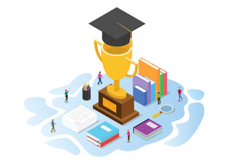 scholarship concept with modern isometric or 3d style vector illustration