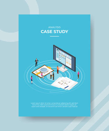 case study concept for template banner and flyer for printing with isometric style vector illustration