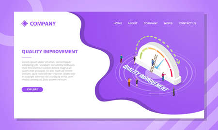 quality improvement concept for website template or landing homepage design with isometric style vector illustration