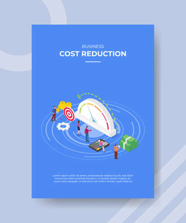 cost reduction concept for template banner and flyer for printing with isometric style vector illustration