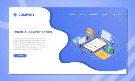 financial administration concept for website template or landing homepage design with isometric style vector illustration Illusztráció