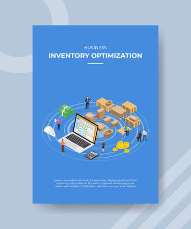 inventory optimization concept for template banner and flyer for printing with isometric style vector illustration