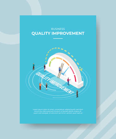 quality improvement concept for template banner and flyer for printing with isometric style vector illustration Illusztráció