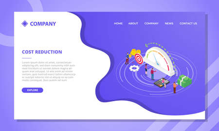 cost reduction concept for website template or landing homepage design with isometric style vector illustration