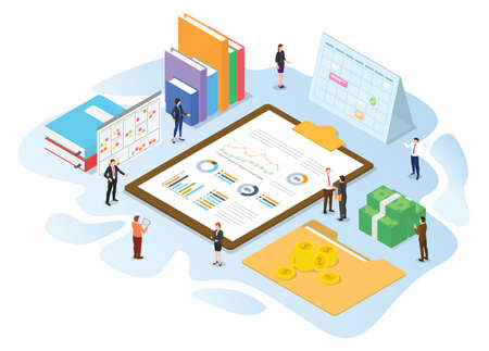 financial administration concept with modern isometric or 3d style vector illustration Illusztráció