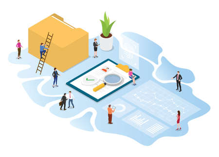 kyc know your customer concept with modern isometric or 3d style vector illustration
