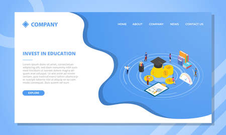 invest in education concept for website template or landing homepage design with isometric style vector illustration