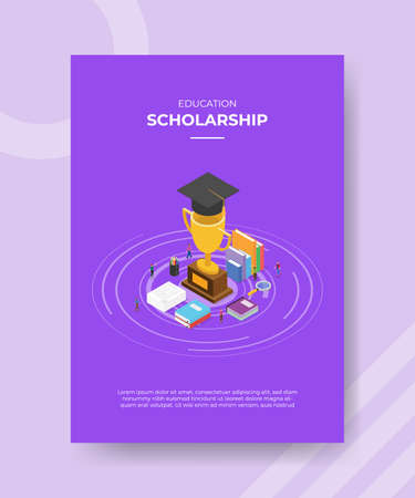 scholarship concept for template banner and flyer for printing with isometric style vector illustration Illusztráció