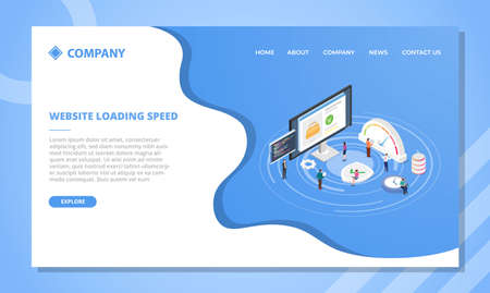 website loading speed concept for website template or landing homepage design with isometric style vector illustration Illusztráció