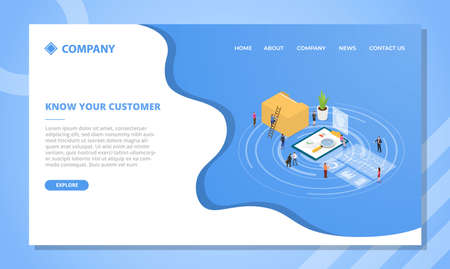 kyc know your customer concept for website template or landing homepage design with isometric style vector illustration