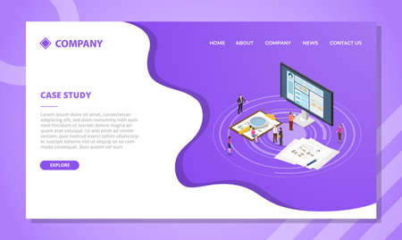 case study concept for website template or landing homepage design with isometric style vector illustration Illusztráció