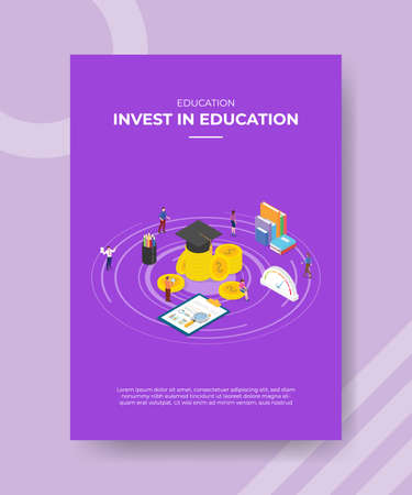 invest in education concept for template banner and flyer for printing with isometric style vector illusatration