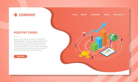 positive trend concept for website template or landing homepage design with isometric style vector illustration