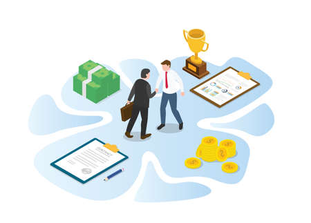 business cooperation concept with modern isometric or 3d style vector illustration