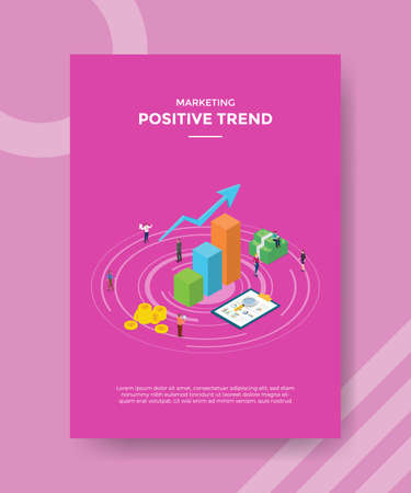 positive trend concept for template banner and flyer for printing with isometric style vector illustration Illusztráció