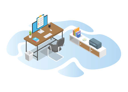 work time with work desk table concept with modern isometric or 3d style vector illustration
