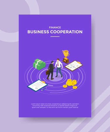 business cooperation concept for template banner and flyer for printing with isometric style vector illustration