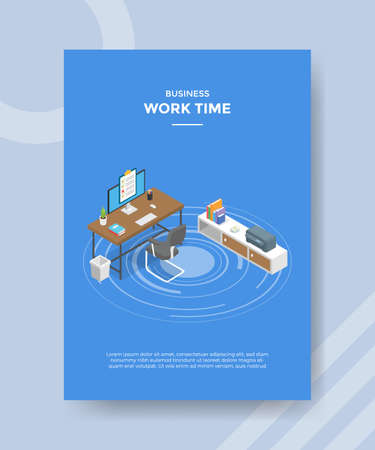 work time concept for template banner and flyer for printing with isometric style vector illustration Illusztráció