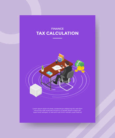 tax calculation concept for template banner and flyer for printing with isometric style vector illustration