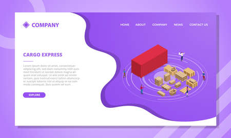 cargo express concept for website template or landing homepage design with isometric style vector illustration Illusztráció