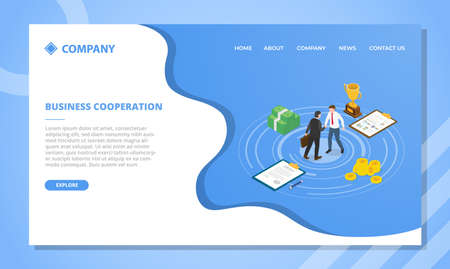 business cooperation concept for website template or landing homepage design with isometric style vector illustration