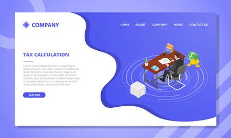 tax calculation concept for website template or landing homepage design with isometric style vector illustration
