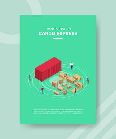 cargo express concept for template banner and flyer for printing with isometric style vector illustration