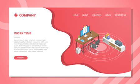 work time concept for website template or landing homepage design with isometric style vector illustration Illusztráció