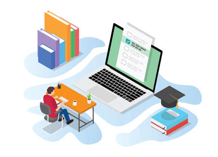 online or live test exam with people study on computer on the desk table with modern isometric style vector illustration Illusztráció