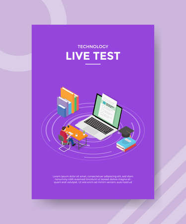 concept for template banner and flyer for printing with isometric style