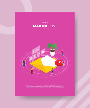 mailing list concept for template banner and flyer for printing with isometric style vector illustration Illusztráció