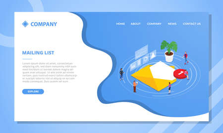 mailing list concept for website template or landing homepage design with isometric style vector illustration