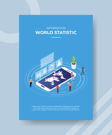 world statistics information concept for template banner and flyer for printing with isometric style vector illustration Illusztráció