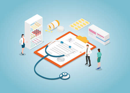 doctor prescription concept with nurse and drugs tablet with modern isometric style vector illustration