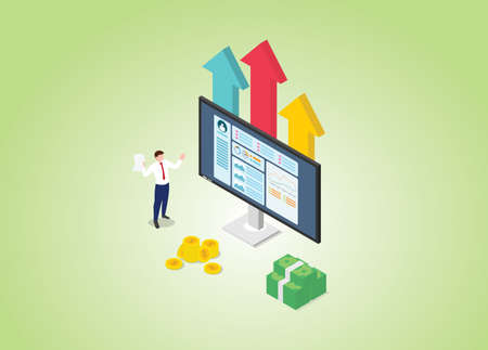 profitable online business concept with graph and chart and modern isometric style vector illustration Illusztráció