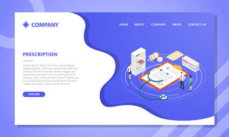 doctor prescription concept for website template or landing homepage design with isometric style vector illustration