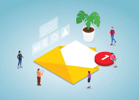 mailing list concept with people team work with modern isometric style vector illustration Illusztráció