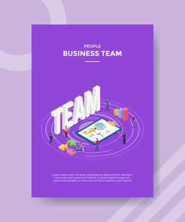 business team concept for template banner and flyer for printing with isometric style vector illustration